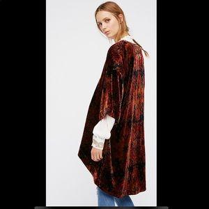 Free People printed velvet kimono
